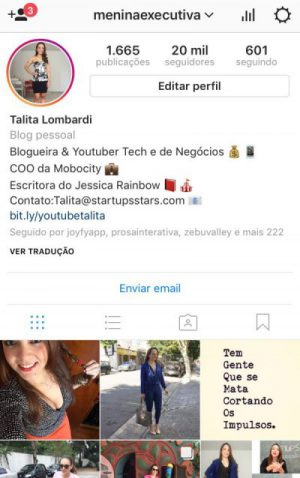 Menina Executiva no Instagram